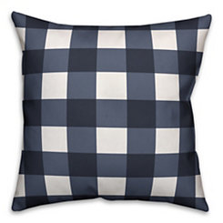 Navy and White Buffalo Check Pillow