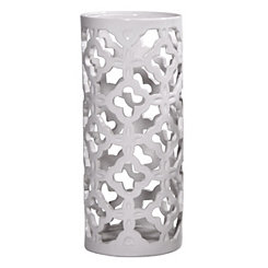 White Cutout Ceramic Candle Holder, 11 in.