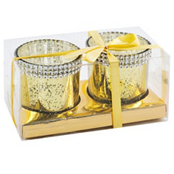 Gold Diamond Votive Holders, Set of 2