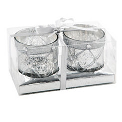 Silver Stud Votive Holders, Set of 2