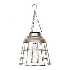 Galvanized Metal Caged Solar Light