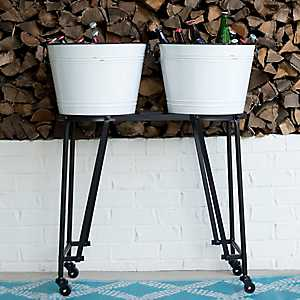 White Enamel Double Beverage Tub