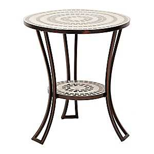 Black and White Mosaic Outdoor Side Table