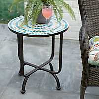 Blue and Green Mosaic Outdoor Side Table