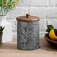 Galvanized Metal and Wood Lid Jar, 8 in.
