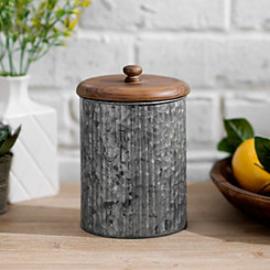 Galvanized Metal and Wood Lid Jar, 8 in.