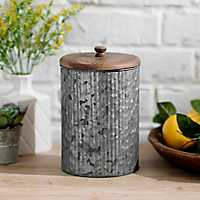 Galvanized Metal and Wood Lid Jar, 9 in.