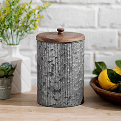 Galvanized Metal and Wood Lid Jar, 9 in.