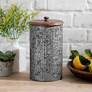 Galvanized Metal and Wood Lid Jar, 11 in.