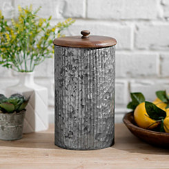 Galvanized Metal and Wood Lid Jar, 11 in.