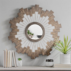 White and Natural Sunburst Plank Wall Mirror