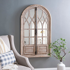 Natural Wood Arch Mirror with Metal Handle
