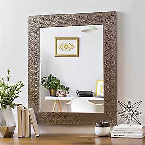 Metallic Silver Block Framed Mirror, 29.5x35.5 in.