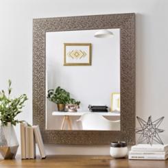 Metallic Silver Block Framed Mirror, 29.5x35.5 in.