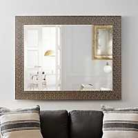 Metallic Silver Block Framed Mirror, 37.5x47.5 in.