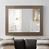 Metallic Silver Blocks Framed Mirror, 38x48 in.