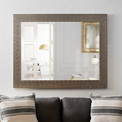 Metallic Silver Blocks Framed Mirror, 38x48 in.