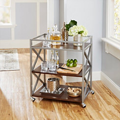 Colin 3-Tier Wood and Metal Bar Cart