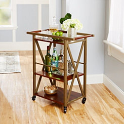 Owen 3-Tier Wood and Metal Bar Cart