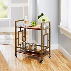 Eli 2-Tier Wood and Metal Bar Cart