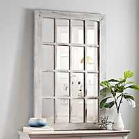 Whitewash Wood Windowpane Wall Mirror
