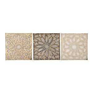 Cortell Textured Medallion Canvas Prints, Set of 3