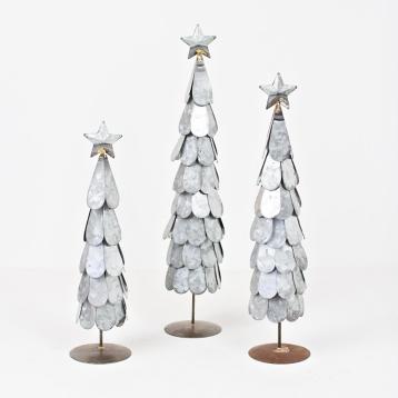 galvanized metal christmas trees set of 3 kirklands - Metal Christmas Tree