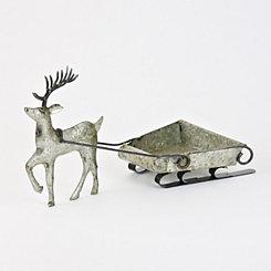 Galvanized Metal Reindeer with Sleigh