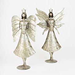 Galvanized Metal Angels, Set of 2