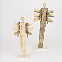 Wooden Christmas Angels, Set of 2