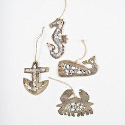 Beaded Driftwood Ornaments, Set of 4