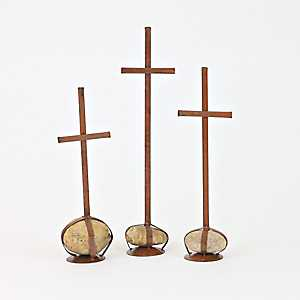 Metal Crosses with Caged Rock Bases, Set of 3