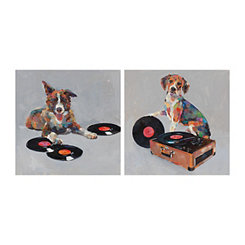 Dogs Gone Records On Canvas Art Prints, Set of 2