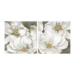 Rhapsody White Floral Canvas Art Prints, Set of 2