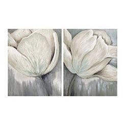 Ivory Hush Floral Canvas Art Prints, Set of 2
