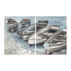 Beached Boats Canvas Art Prints, Set of 2