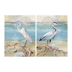 Egret and Heron Canvas Art Prints, Set of 2