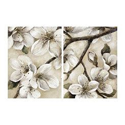 Paces Light Floral Canvas Art Prints, Set of 2