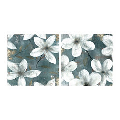 Rustic White Floral Canvas Art Prints, Set of 2