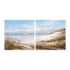 Beach Fence Canvas Art Prints, Set of 2