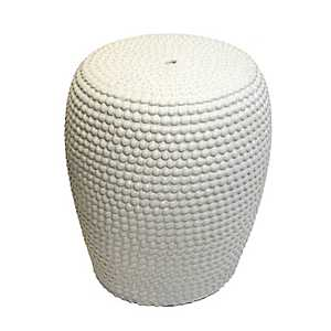 White Beaded Ceramic Garden Stool