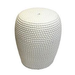 White Beaded Ceramic Garden Stool