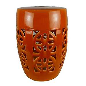 Orange Cutout Ceramic Garden Stool