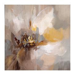 Greige Floral Canvas Art Print
