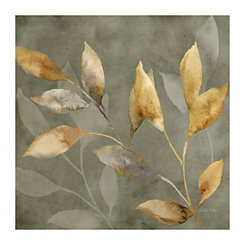 Leaves on Gray Canvas Art Print