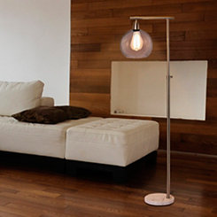 Brushed Steel and Marble Edison Bulb Floor Lamp