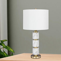Stacked Faux Marble Table Lamp