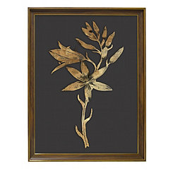 Golden Botanical I Framed Glass Art Print