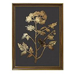 Golden Botanical II Framed Glass Art Print