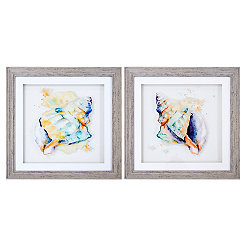 Watercolor Conch Framed Art Prints, Set of 2